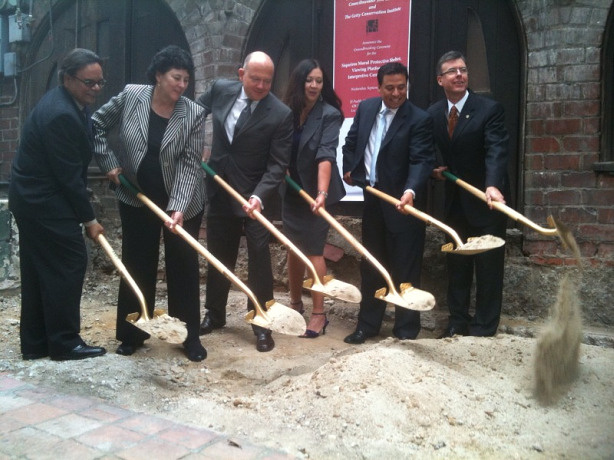 Los Angeles civic leaders break ground on an interpretive center for a David Alfaro Siqueiros mural on Olvera Street in downtown L.A., Sep. 8, 2010.