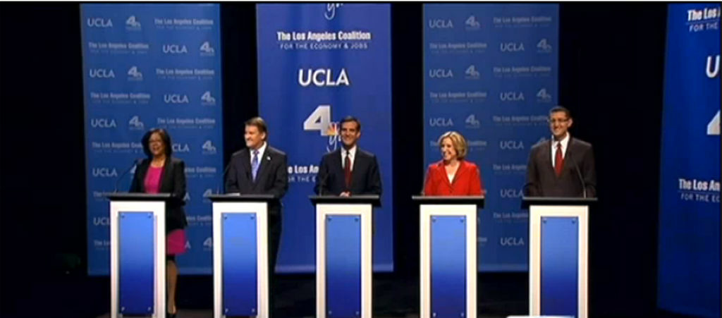 Five candidates for Los Angeles mayor participate in their first televised debate on January 28, 2013 at UCLA.