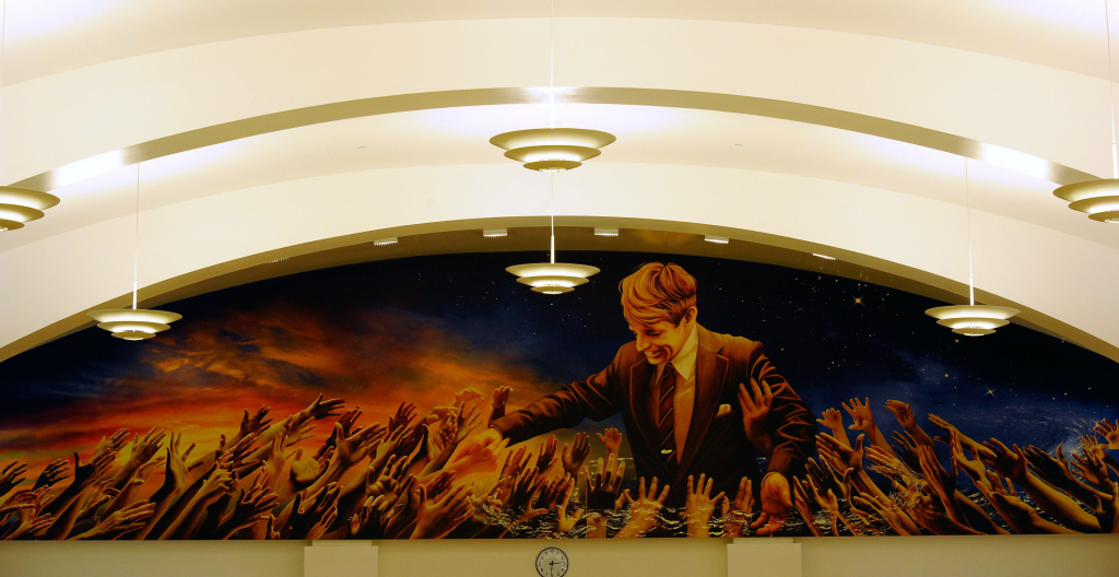 A mural by Judith Baca depicting Robert F. Kennedy's presidential campaign is shown at the Robert F. Kennedy Community Schools complex in Los Angeles, California.