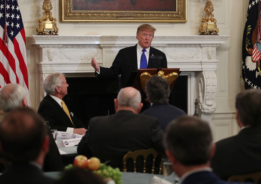 U.S. President Donald Trump speaks during the 2019 White House Business Session with the Nation's Governors, in State Dining Room at the White House on February 25, 2019 in Washington, DC