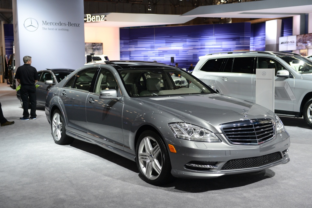 The Mercedes-Benz 250 CDI BlueEFFICIENCY, declared the 2012 World Green Car of the Year, in on display during the second day of press previews at the New York International Automobile Show on April 5, 2012 in New York.  AFP PHOTO/Stan HONDA (Photo credit should read STAN HONDA/AFP/Getty Images)