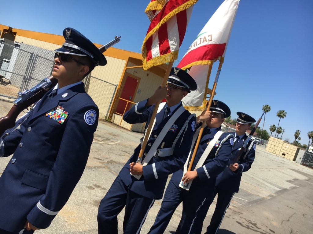 Alejandro Gutierrez, 18, a cadet at Hemet High School practices with other students ahead of Memorial Day. Honoring veterans is a strong tradition in the tight-knit community, 100 miles east of Los Angeles.