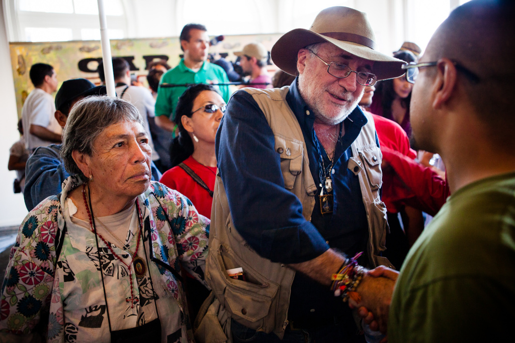 Mexican poet, Javier Sicilia, shakes hands with a supporter after a press conference on August 13, 2012. Since the murder of his 24 year-old son, Juan Francisco Sicilia Ortega, last year, Sicilia has become the leader of a movement calling for the end of the U.S. sponsored Drug War. For the next month, he is leading a