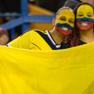 Fans enjoy the atmosphere during the 2015 FIFA Women's World Cup Group F match between Colombia and England at Olympic Stadium on June 17, 2015 in Montreal, Quebec, Canada.  England defeated Colombia 2-1.