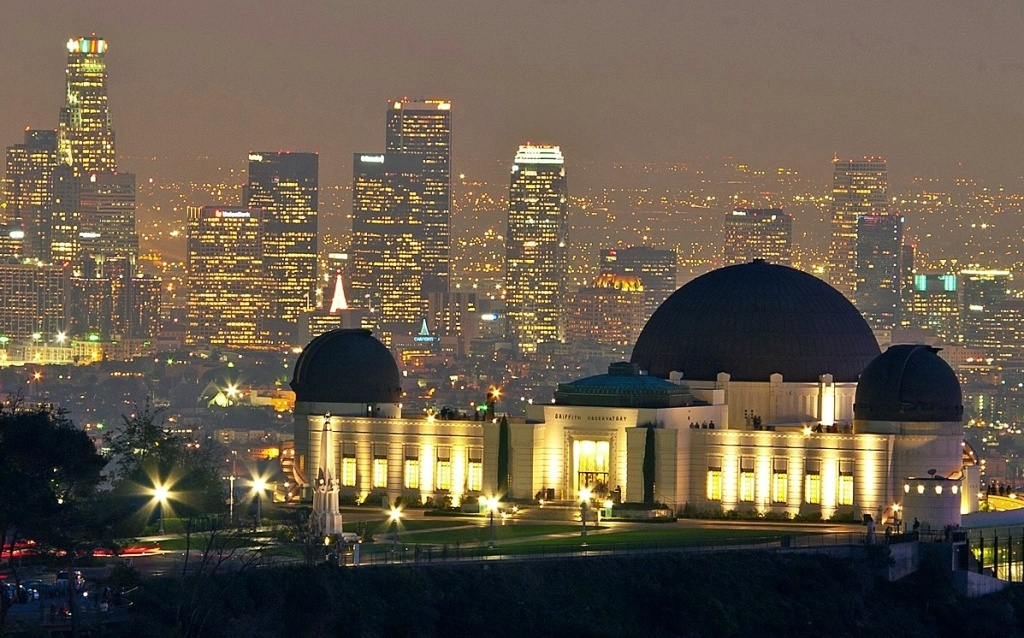 The Griffith Observatory from Mt. Hollywood, with downtown Los Angeles in the background.
