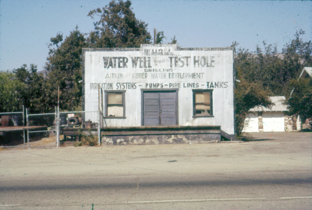 A 1962 Thousand Oaks survey picture of H.L. Hall Water Well and Test Hole Drilling, and Aitken and Kidder Water Development, by Pat Allen. Water well drilling goes back a century in California, but records are scarce for public viewing.