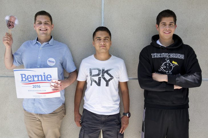 College of the Canyons students Devon Miller, Mohammad Qayum and Jose Martinez are all members of the community college's political science club. Miller says although he supports Sen. Bernie Sanders for president, he doesn't care who his peers vote for as long as they vote.