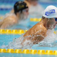 Kosuke Kitajima (R) of Japan leads other