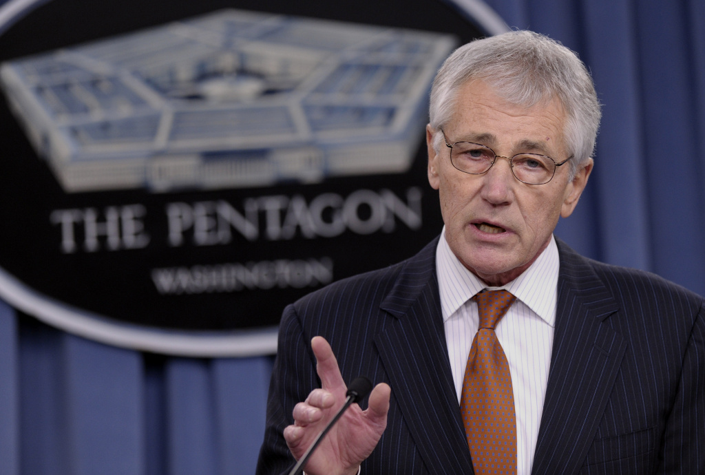 FILE - In this Feb. 7, 2014 file photo, Defense Secretary Chuck Hagel speaks during a briefing at the Pentagon.   A U.S. official says that as part of the proposed 2015 defense budget, Pentagon chief Chuck Hagel is recommending shrinking the Army to its smallest size in decades.  (AP Photo/Susan Walsh)