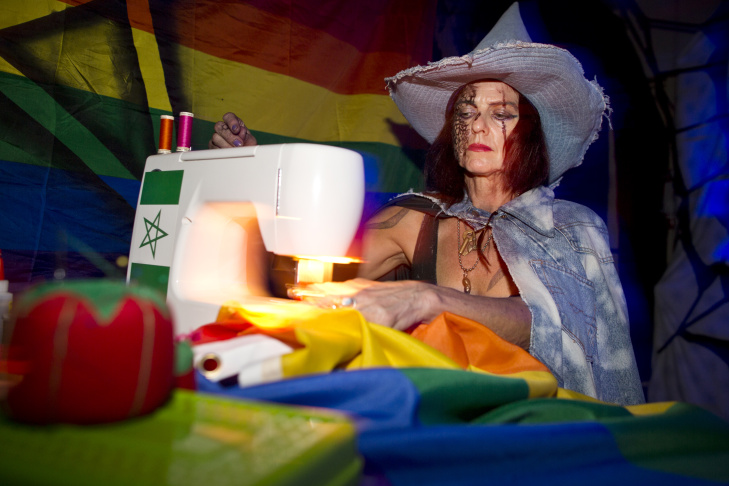 Christina Zeidler, left, performs as a super fan of Valerie Solanas at KillJoy's Kastle: A Lesbian Feminist Haunted House on Friday night, Oct. 16, 2015 at Plummer Park in West Hollywood.