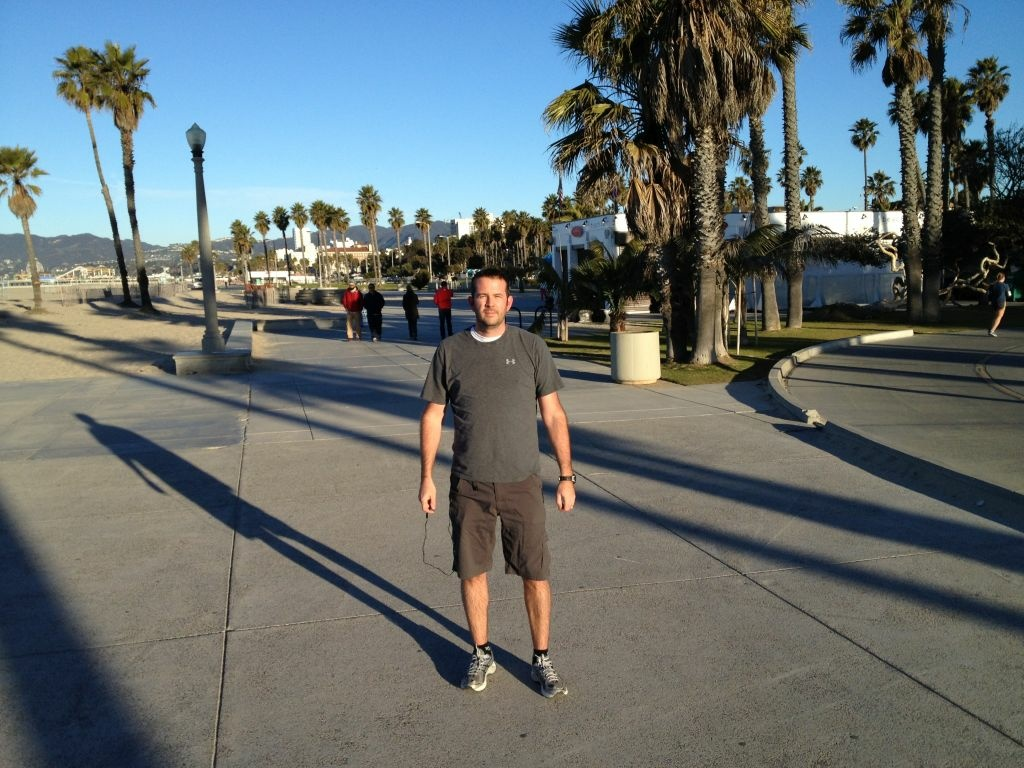 No extra layers for Lance Priebe, visiting Santa Monica from British Columbia