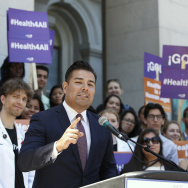 State Sen. Ricardo Lara (D-Bell Gardens) speaks at a May 2016 rally at the Capitol in Sacramento.