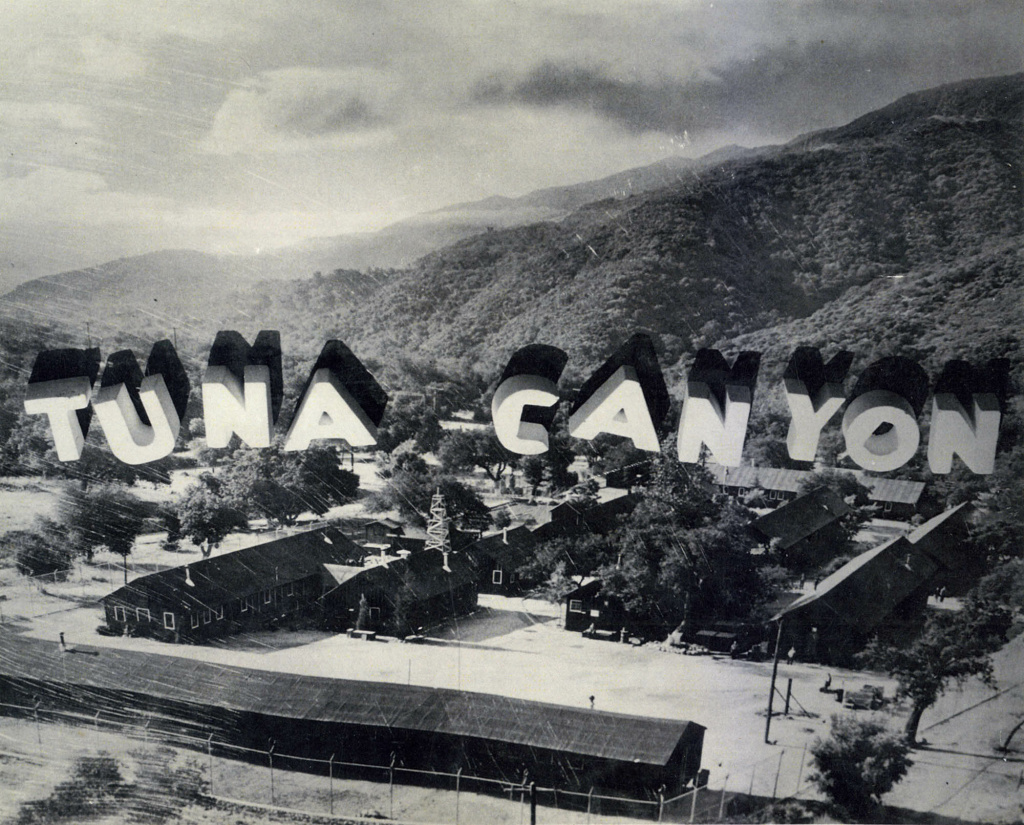 A stylized aerial view of the Tuna Canyon Detention Station. More than 1,000 people of Japanese descent were held here before being transferred to longer-stay camps further inland or out-of-state.