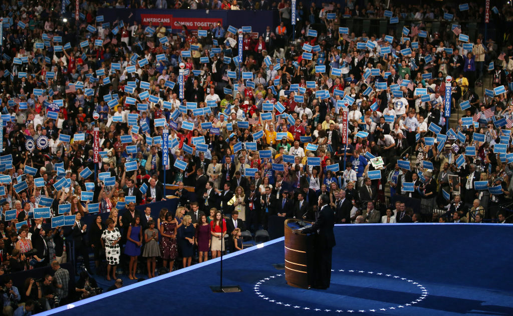President Barack Obama speaks on stage as he accepts the nomination for president during the final day of the Democratic National Convention. The August jobs report could be critical for his re-election hopes.