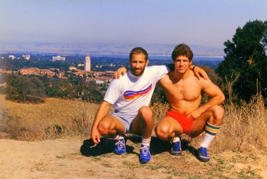 Dave (L) and Mark Schultz overlooking Stanford University where they both worked as assistant coaches following their college careers.