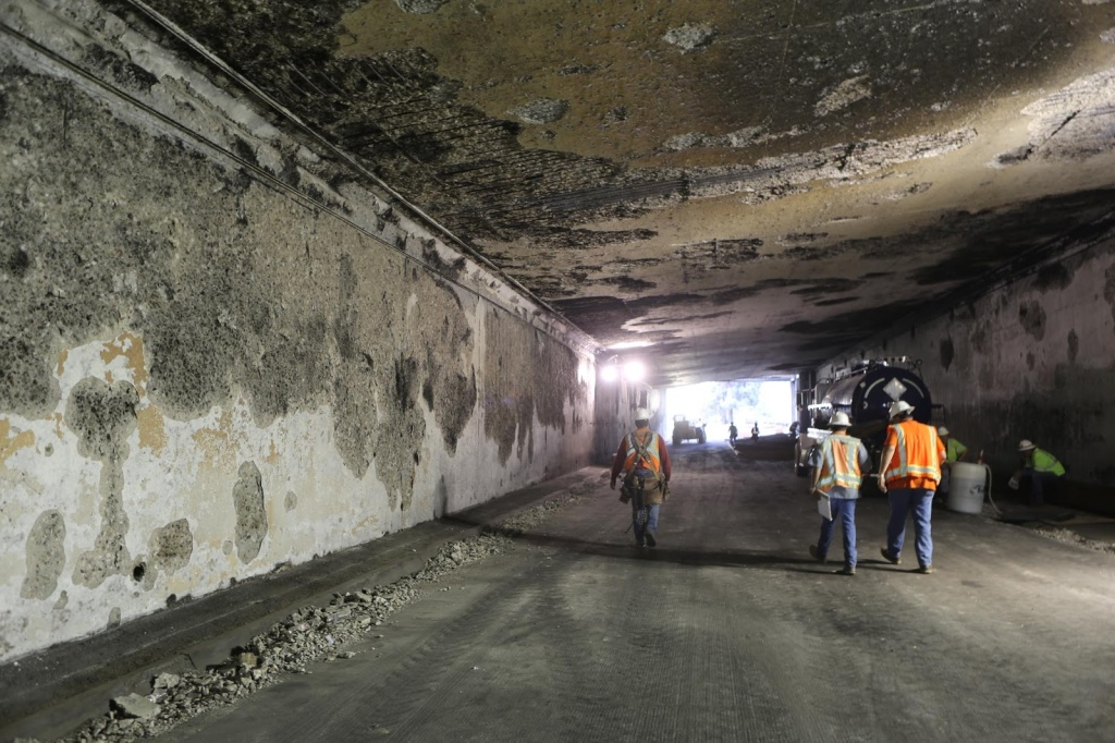 A damaged freeway tunnel at the I-5/State Route 2 interchange.