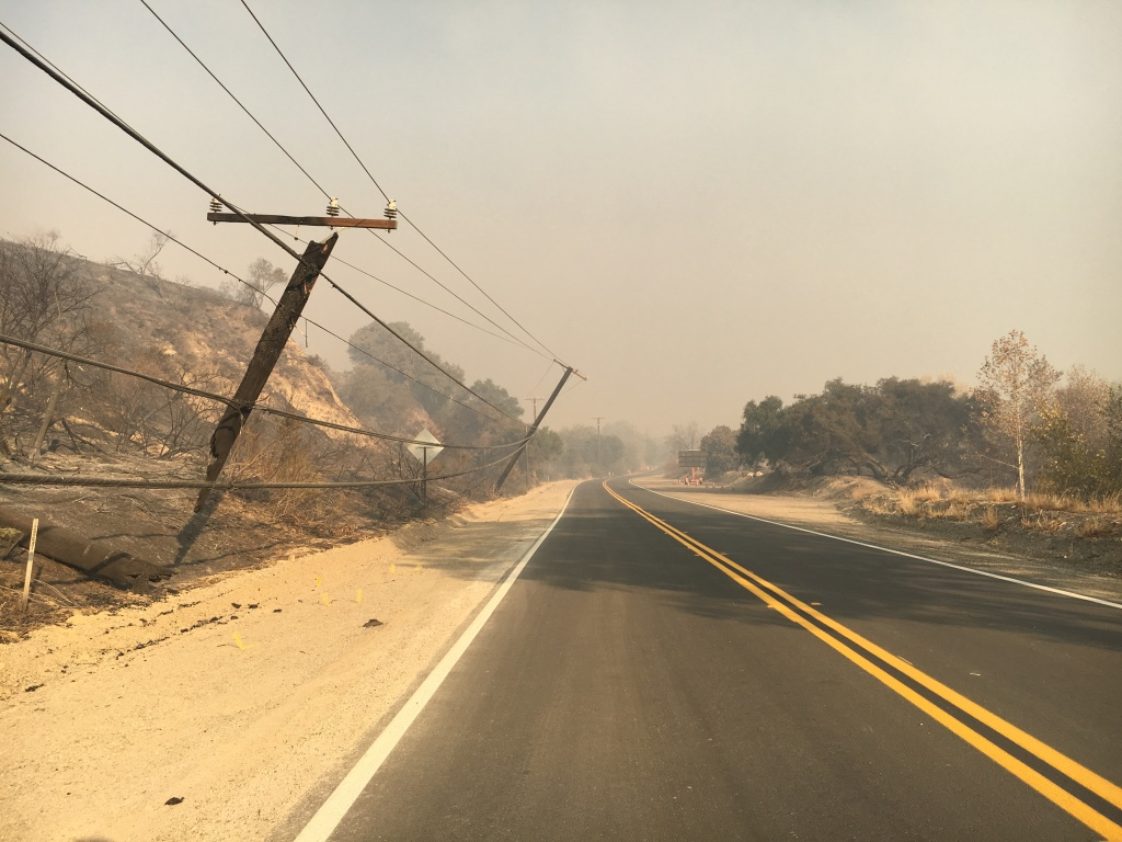 Some of the many utility poles and power lines that burned in the Thomas Fire. These poles were awaiting repairs on Dec. 6, 2017 on Highway 150 north of Santa Paula.