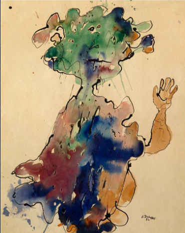 Jean Dubuffet,  Personnage au chapeau, seins bas superposes (Figure with a Hat, Superimposed Low Breasts), January 1952.