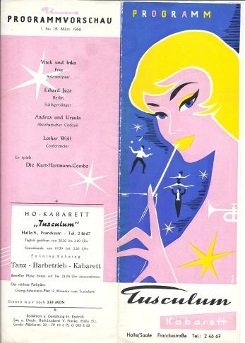 Tusculum Kabarett menu