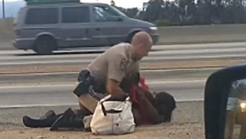 California Highway Patrol officer Daniel Andrew is seen on video straddling Marlene Pinnock on the ground and punching her in the head near a Los Angeles freeway. Andrews has said he was trying to restrain her.as she walked into the freeway against his instructions.