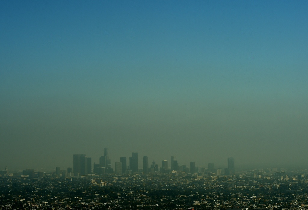 A view of the Los Angeles city skyline as heavy smog shrouds the city on May 31, 2015.