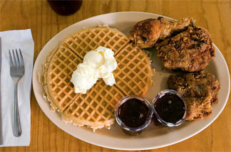 Chicken and waffles at Roscoe's House of Chicken 'N Waffles in Pasadena.