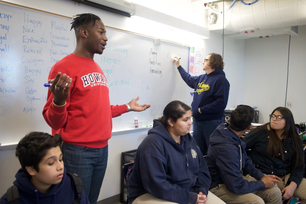 Center Theatre Group teaching artist Nijeul Porter works with the drama class at Ánimo Leadership Charter High School once a week as part of the August Wilson In-School Residency program.