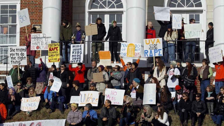 Image of UVA protest following the story in Rolling Stone (AP Photo/The Daily Progress, Ryan M. Kelly)