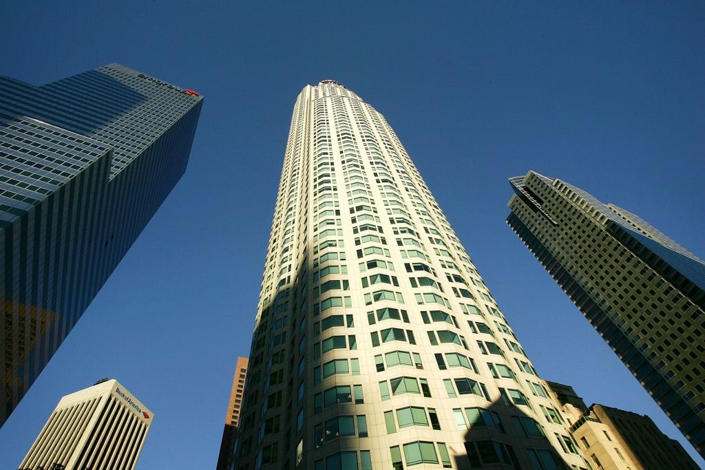 The U.S. Bank Tower, formerly known as the Library Tower, is seen on February 9, 2006 in Los Angeles, California. The downtown highrise is more than 1,000 feet high and is reportedly the tallest building west of the Mississippi River.