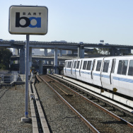 Ready to go back into service: Bay Area Rapid Transit (BART) train cars at a station in Oakland.