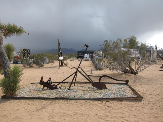 Welcome sign to the Noah Purifoy Outdoor Desert Art Museum of Assemblage Sculpture in Joshua Tree, California.