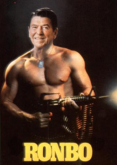 Poster showing Ronald Reagan as Rambo.