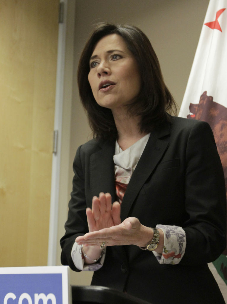 In this photo taken Tuesday, April 10, 2012, Republican candidate for U.S. Senate, Elizabeth Emken said it was time to retire career politicians like incumbent Democratic U.S. Sen. Dianne Feinstein during a news conference in Sacramento, Calif.  Emken, 49, who is challenging Feinstein in the June primary, said that Feinstein is
