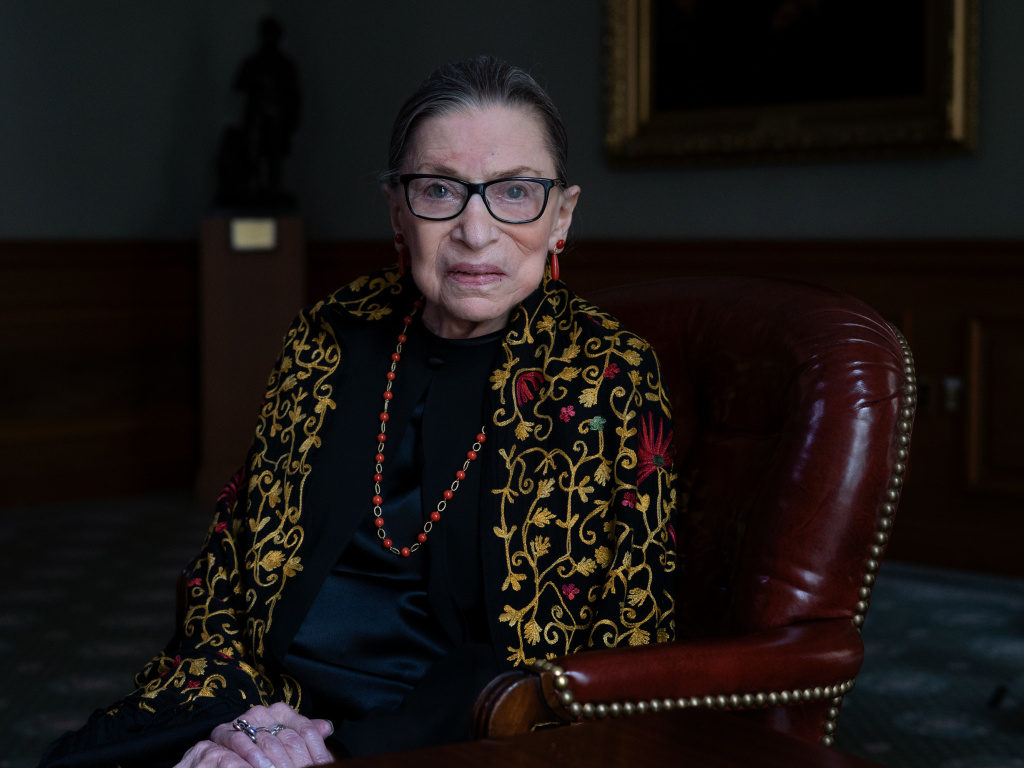 Justice Ruth Bader Ginsburg sits for a portrait in the Lawyer's Lounge at the Supreme Court of the United States