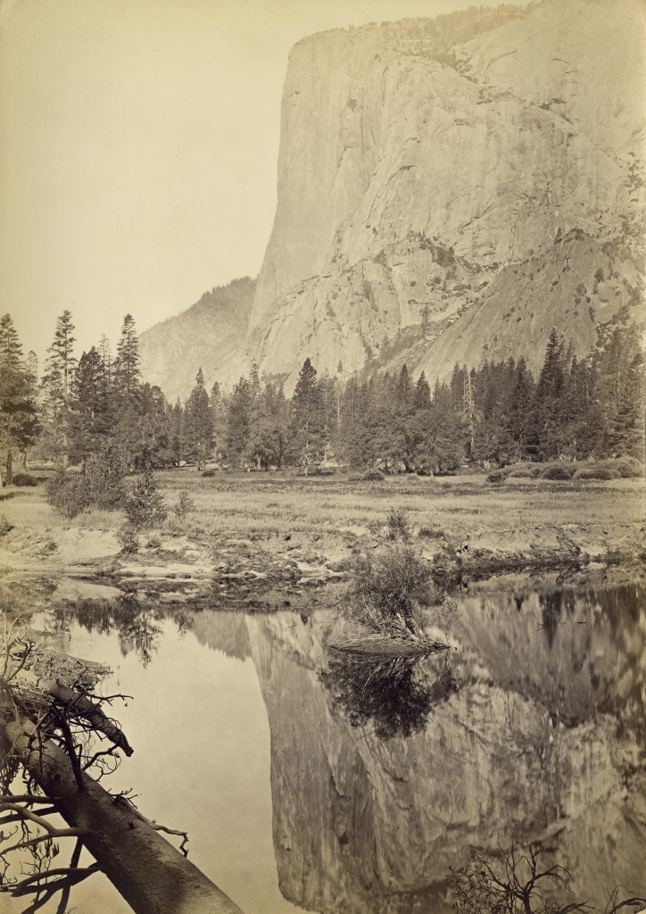 El Capitan, a vertical rock formation in Yosemite Valley, Yosemite National Park, California, reflected in water, circa 1865.  (Photo by Carleton E. Watkins/Getty Images)