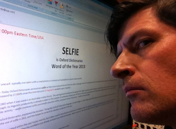 Off-Ramp host John Rabe scores a rare Double-Selfie. (Selfie picked 2013 Oxford Word of the Year)