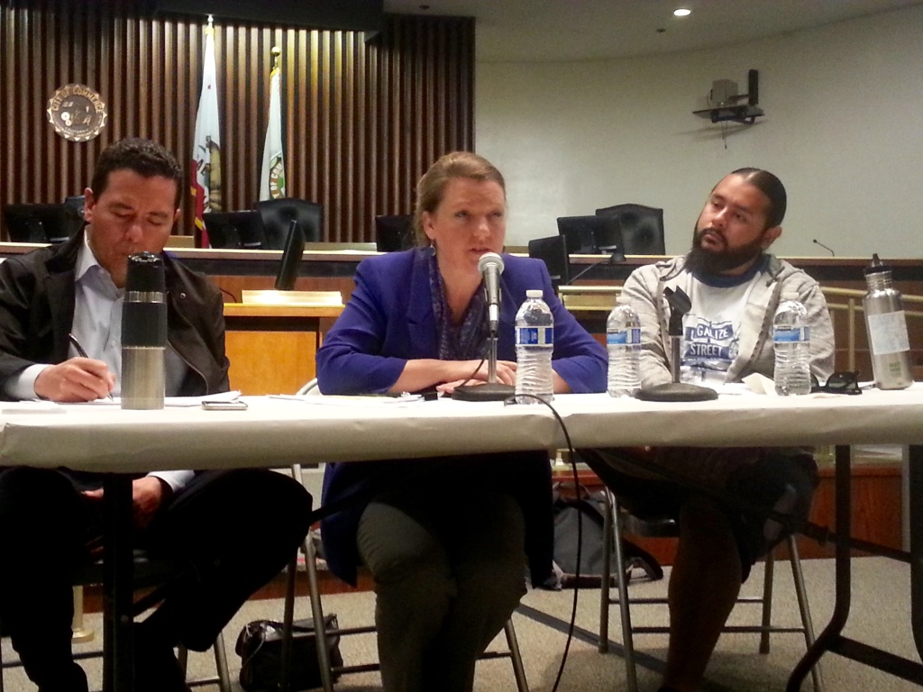 Barbara Lee, Director of the Department of Toxic Substances Control, answers questions from residents Thursday about the agency's cleanup of lead contamination from the area around the former Exide battery recycling plant in Vernon.