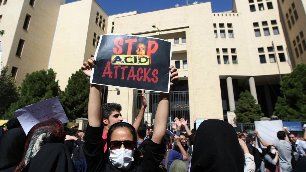 Iranians protest in Isfahan, Iran, last month in solidarity with women injured in a series of acid attacks. Several women have been attacked by assailants on motorcycles who threw acid on their faces, purportedly because they were