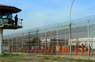California Department of Corrections officer looks on as inmates at Chino State Prison exercise in the yard December 10, 2010 in Chino, California.