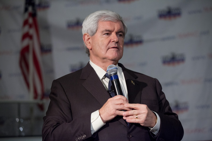 Newt speaking at Pasadena's TeaPAC's Townhall Series in the Castle Green Hotel on Feb. 13, 2012.