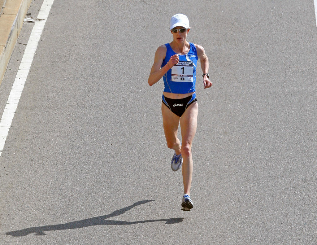Deena Kastor runs in the U.S. Women's Olympic Marathon Trials in 2008 in Massachusetts. Los Angeles is competing with two other cities to host this trial for the 2016 Olympics.