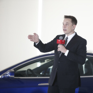 Elon Musk, Chairman, CEO and Product Architect of Tesla Motors, addresses a press conference to declare that the Tesla Motors releases v7.0 System.