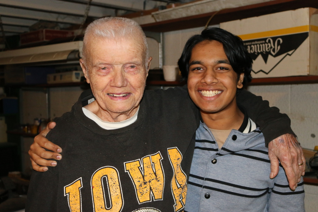 Rishi Sharma with Lester Cook. Cook, a WWII Army Ranger, saw heavy combat.