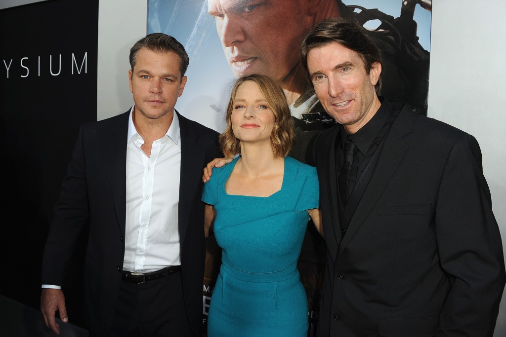 Actors Matt Damon, Jodie Foster and Sharlto Copley attend the premiere of TriStar Pictures'