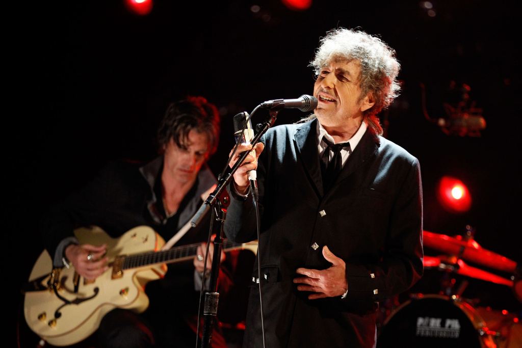 In this file photo, musician Bob Dylan performs onstage during the 17th Annual Critics' Choice Movie Awards held at The Hollywood Palladium on January 12, 2012 in Los Angeles, California. A working draft of the finished song