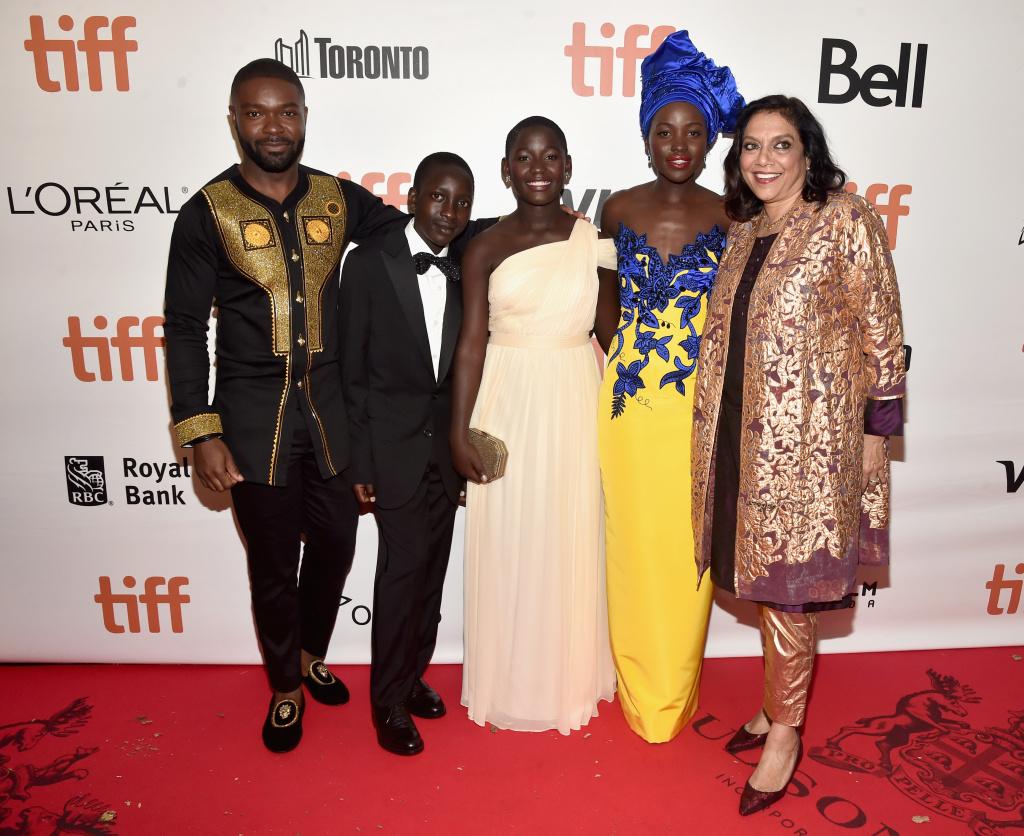 (L-R) Actors David Oyelowo, Martin Kabanza, Madina Nalwanga, Lupita Nyong'o and director Mira Nair at the world premiere of