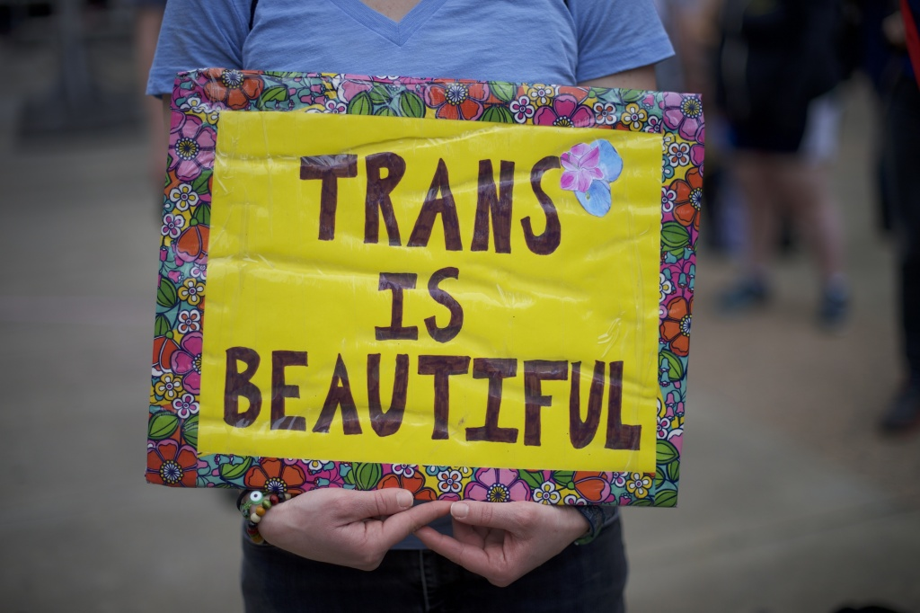 Protestors demonstrate during a rally against the transgender bathroom rights repeal at Thomas Paine Plaza February 25, 2017 in Philadelphia, Pennsylvania.
