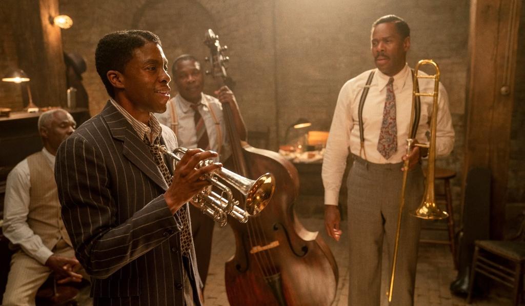 Glynn Turman as Toldeo, Chadwick Boseman as Levee, Michael Potts as Slow Drag, and Colman Domingo as Cutler in