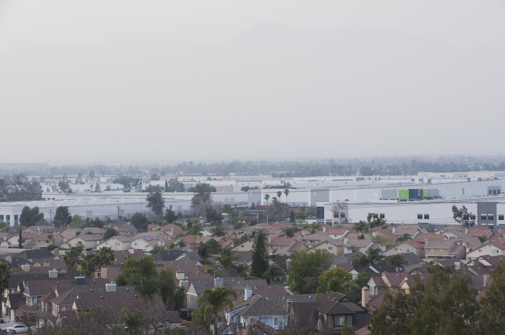 In the least decade, millions of acres of white warehouses have been built amongst residential neighborhoods in Fontana, California.