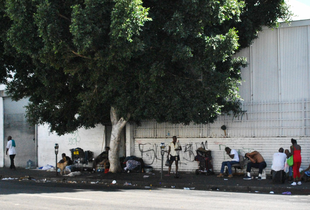 A homeless camp on L.A.'s Skid Row.  City Attorney Carmen Trutanich is still investigating claims that a Las Vegas psychiatric hospital sent discharged patients to Los Angeles with no resources or treatment plans.